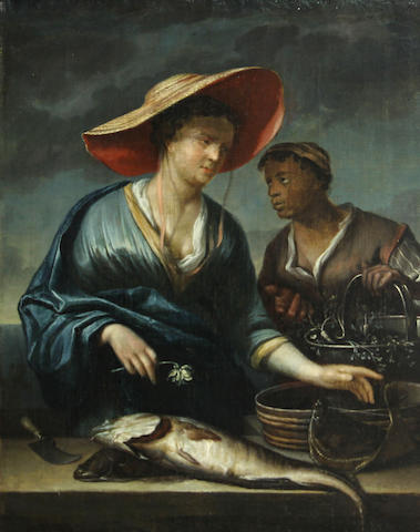 Dutch School SENDING TO BK Fishwife with a servant 17 x 13 1/2in (43.2 x 34.3cm)
