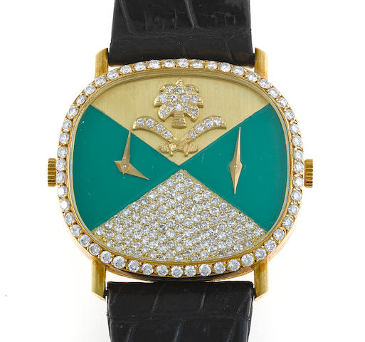 A diamond, eighteen karat gold and leather strap dual time wristwatch, retailed by Kutchinsky