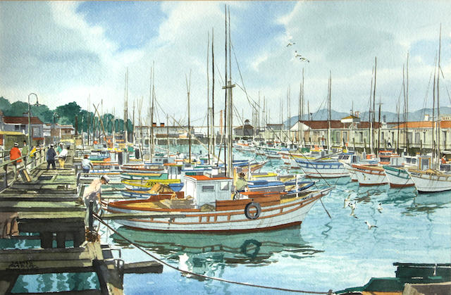 James March Phillips (American, 1913-1981) The Golden Gate Bridge; Cable cars on California Street; Fisherman's Wharf (group of 3) first sight: 16 3/4 x 25 3/4in; second sight: 15 x 23 1/4in; third sight: 15 1/2 x 23 1/2in