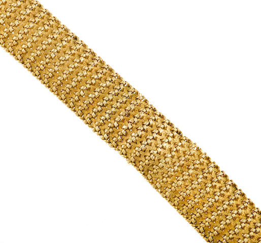 An eighteen karat gold covered dial bracelet wristwatch, Rolex