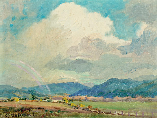 Albert Thomas DeRome (American, 1885-1959) Carmel Valley from Hatton Field, 1938; Fremont Park, March cloud shadows, 1948 (a pair)  each 6 x 8in