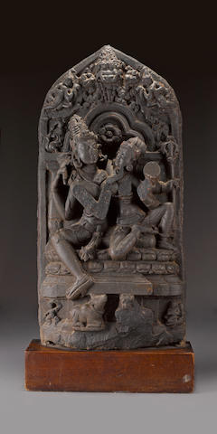 A black stone stele of Uma Mahesvara Northeast India Pala period, circa 11th century