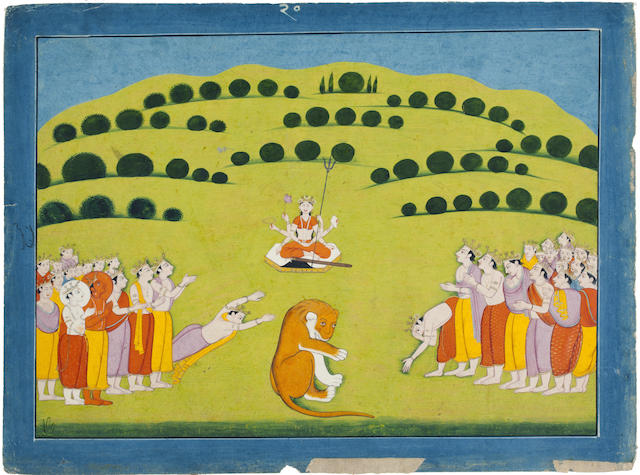 An illustration to a Devi Mahatmya series: The gods impore Ambika for help  Guler, late 18th century
