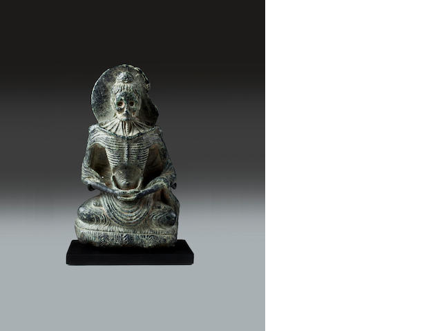A black stone figure of emaciated Buddha Ancient Region of Gandhara, 2nd/3rd century