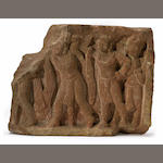 A red sandstone relief panel with attendants Northern India, Kushan period, circa 2nd century