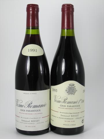 Vosne-Romanée, Cros Parantoux, E. Rouget 1991 (4)<BR />Vosne-Romanée, Cros Parantoux, E. Rouget 1993 (4)<BR />Vosne-Romanée, Cros Parantoux, E. Rouget 1995 (2)<BR />Vosne-Romanée, Cros Parantoux, E. Rouget 1996 (1)