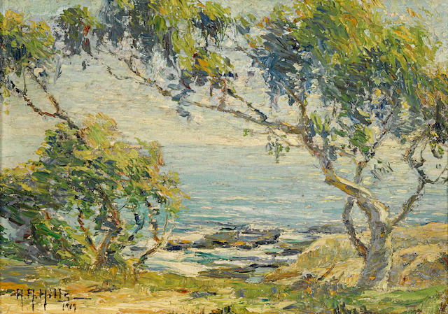 Anna Althea Hills (American, 1882-1930) Wind blown, Laguna Beach near Arch Beach, 1919 7 x 10in