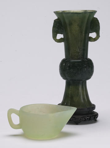 Two carved hardstone decorations including one Gu and one handled cup