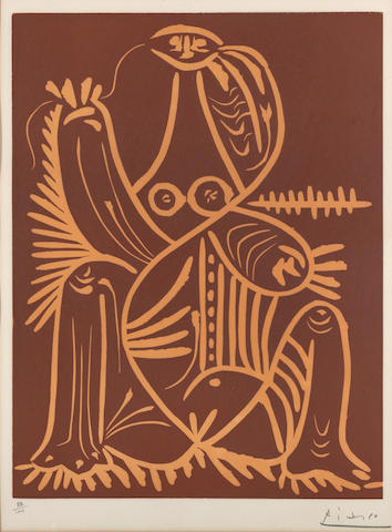 Pablo Picasso, Seated Female, 1962, linocut, 88/150;