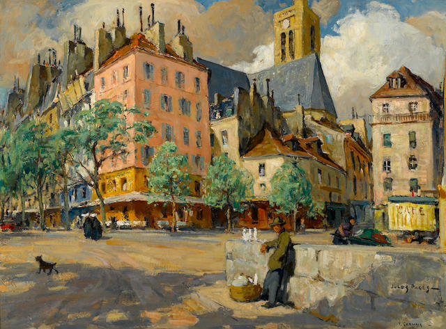 Jules Eugène Pages (American, 1867-1946) St. Gervais, Paris and old Louis XIII houses 23 3/4 x 32in