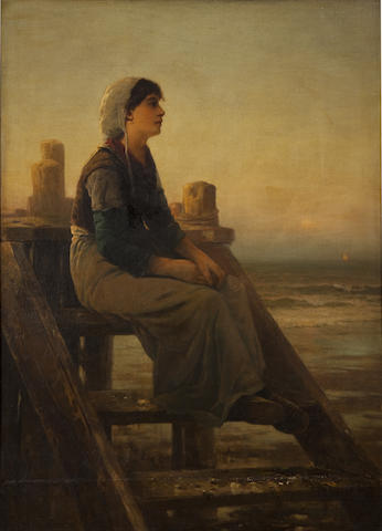 Edward Moran (American,1829-1901)<BR />Seated Girl<BR />oil on canvas<BR />52 x 38 inches