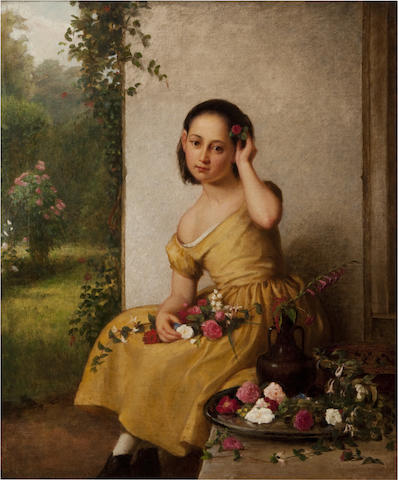 George Cochran Lambdin (American, 1830-1896) Girl in a yellow dress with fresh cut flowers 30 x 25in (76.2 x 63.5cm)