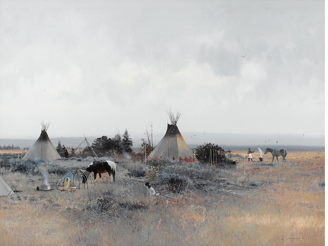 Michael Coleman (American, born 1946) Blackfeet camp 23 x 30in