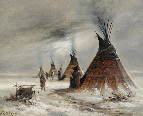 Astley David Middleton Cooper (American, 1856-1924) Sioux Indian camp in winter  16 1/4 x 20 1/4in