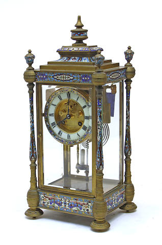 A French gilt bronze and cloisonné enamel four glass mantel clock retailed by P. Kierulff & Co., Peking<BR />first quarter 20th century