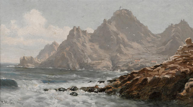 Thaddeus Welch (American, 1844-1919) Farallon Islands, Southeast Farallon Island, 1900 10 1/4 x 18in