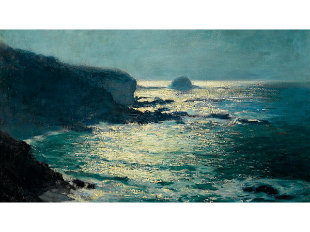 Guy Rose (American, 1867-1925) Moonlight - Arch Beach, Laguna, circa 1916-1919 24 x 29in