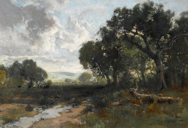 William Keith (Scottish/American, 1838-1911) Stream in a clearing sight: 14 3/4 x 21 3/4in