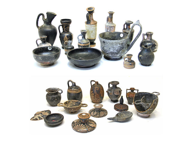 A group of approximately thirty-three pieces of Classical pottery and various shards circa 5th-3rd century B.C. and later
