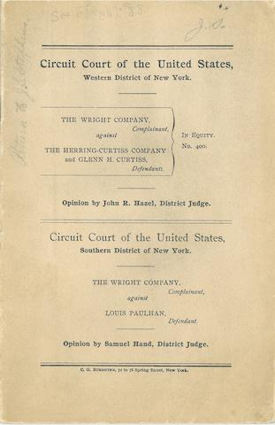WRIGHT BROTHERS AND THE PATENT WAR. Small group of documents relating to the Wrights' legal battles over patents with Glenn Curtiss and others, comprising:<BR />