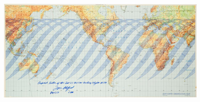 LAST PATH FOR APOLLO—COMMANDER'S INSCRIPTION. ASTP Earth Observation Map, Training Edition. Color earth map, 19 x 40 inches.