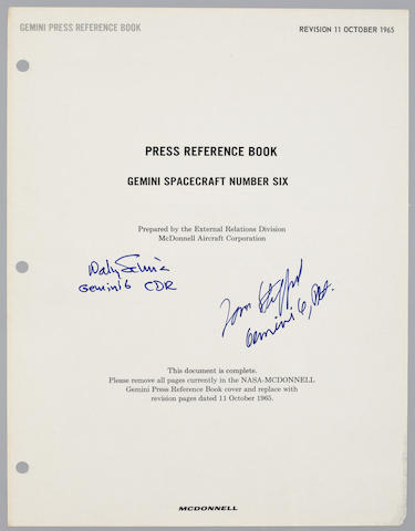 STAFFORD'S MCDONNELL PRESS REFERENCE BOOK—SIGNED. STAFFORD ON TRAINING AND THE 24 G ESCAPE.<BR />Gemini Press Reference Book, Gemini Spacecraft Number Six. St. Louis, MO: October 11, 1965.