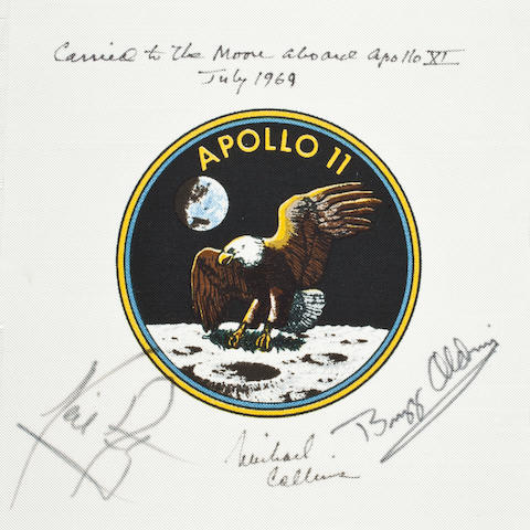 COLLINS' FLOWN CREW-SIGNED APOLLO 11 EMBLEM. A RARE FLOWN ARMSTRONG-SIGNED MISSION ARTIFACT.<BR /> Flown Apollo 11 Beta cloth crew emblem,