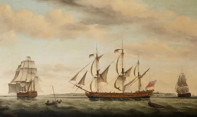 Francis Holman (British, 1729-1790) The East Indiaman Ponsborne in three positions off coastal waters 36 x 59in (91.4 x 149.8cm)