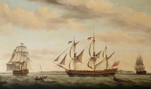Francis Holman (British, 1729-1790) The East Indiaman Ponsborne in three positions off coastal waters 36 x 59in (91.4 x 149.8cm)