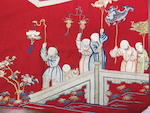 A large red wool and silk embroidered banner Late Qing dynasty