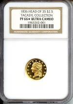 1836 $2.5 Ultra Cameo PF-66 NGC