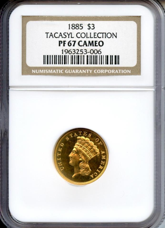 1885 $3 Cameo PF-67 NGC