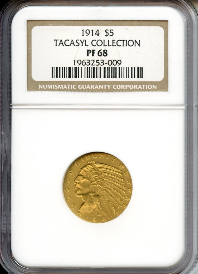 1914 $5 PF-68 NGC