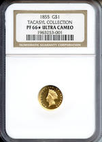 1855 $1 Type 2 Ultra Cameo PF-66â605 NGC