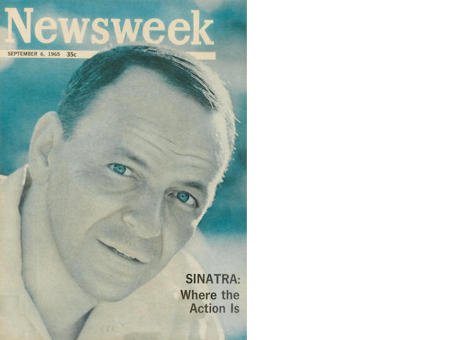 FRAMED NEWSWEEK; 3 COPIES OF SINATRA, HIS VOICE; ONE COPY OF FRANK, DEAN, AND SAMMY; 3 CARDS FROM SINATRA'S FUNERAL LONDON PROGRAM.