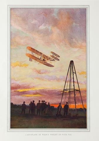 WILBUR WRIGHT EN PLEIN VOL. SEROUGART, A., artist. L'aéroplane de Wilbur Wright en plein vol. [N.p.: c.1908.]