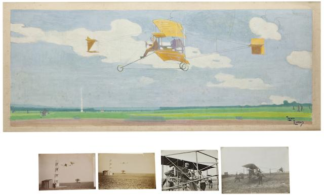 ORIGINAL ILLUSTRATION OF CURTISS IN FLIGHT. RUDAUX, HENRI EDMOND. Large depiction of Glenn Curtiss in profile winning the Gordon Bennet Cup in 1909 at Reims,