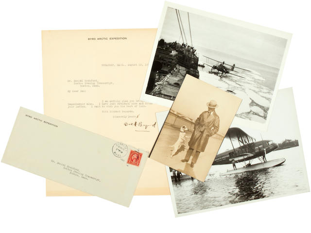RICHARD EVELYN BYRD COLLECTION. Small group of documents and photographs relating to Byrd, comprising: <BR />