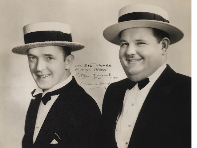 Signed photo of Laurel and Hardy, dated 1931.