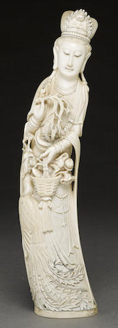 A large ivory carving of Guanyin 20th century