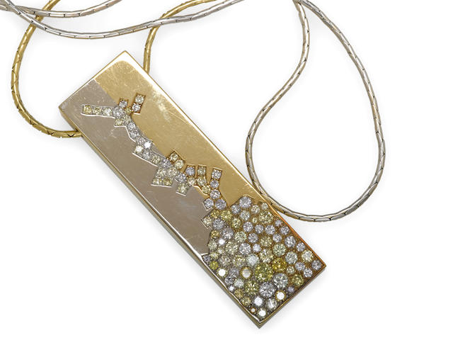 A diamond, colored diamond and 18k bicolor gold pendant with one white gold and one yellow gold chain