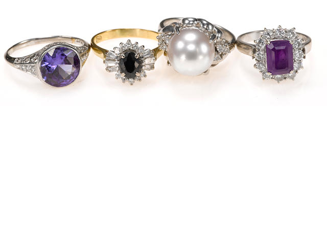 A collection of four gem-set, cultured pearl, synthetic gem, diamond, platinum and 18k gold rings