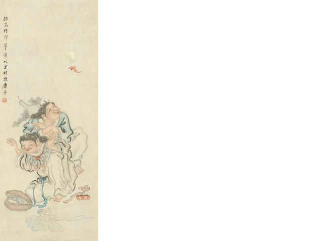 Two hanging scrolls, the first Xie Ming, figures and goats in landscape, the second Mi Zhun, Hehe Twins with bat and toad, both ink and color on paper