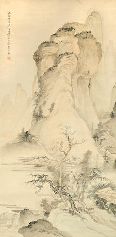 Attributed to He Haixia (1908-1998) Landscape, ink and color on paper, hanging scroll