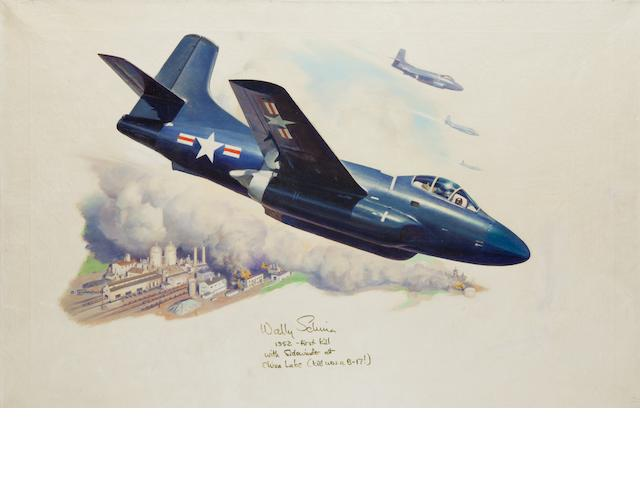 SCHIRRA, DOUGLAS F3D, AND THE SIDEWINDER. LEYDENFROST, ALEXANDER, artist. Douglas F3D Skyknights in flight over a bombed factory,