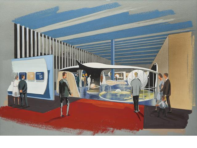 1964 NEW YORK WORLD'S FAIR—SPACE PARK. 2 fanciful artist's impressions of interiors at the New York World's Fair, ink, watercolor and gouache on board and paper mounted on board,
