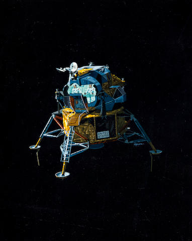 LUNAR MODULE ORIGINAL ILLUSTRATION. MION, PIERRE, artist. The Apollo lunar module, with its lunar surface sensing probes visible,