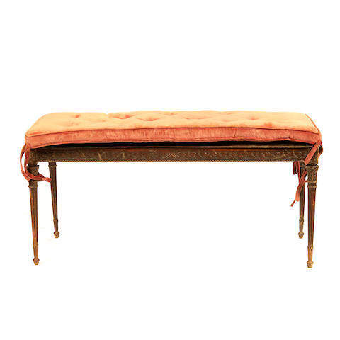 A Louis XVI style caned bench