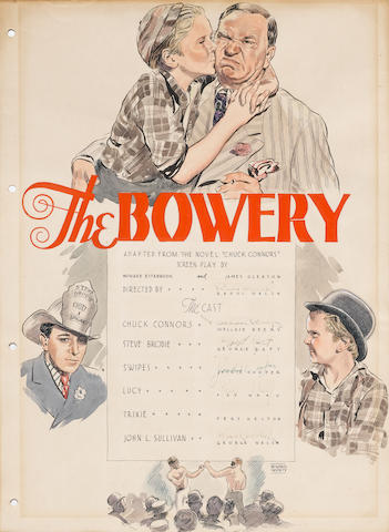 ORIGINAL POSTER ART FOR THE BOWERY, SIGNED BY RAOUL WALSH, WITH BEERY, RAF, COOPER, WRAY, WALSH.
