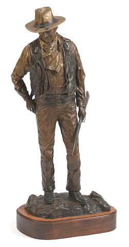 David Manuel (American, b.1940), John Wayne, American, inscribed 'BIANCI Frontier Museum 1979'; numbered '22/250'; signed 'Manuel', patinated bronze, height 28in
